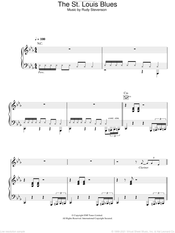 The St. Louis Blues sheet music for voice, piano or guitar by Hugh Laurie and Rudy Stevenson, intermediate skill level
