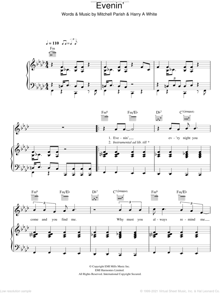 Evenin' sheet music for voice, piano or guitar by Hugh Laurie, Harry A White and Mitchell Parish, intermediate skill level