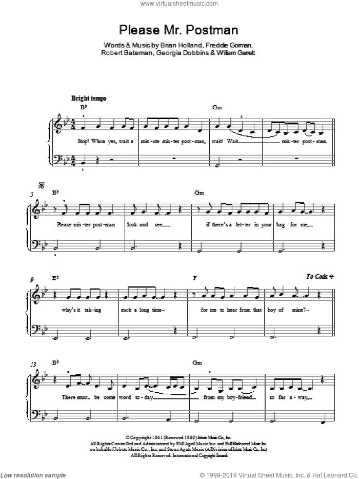 Please Mr. Postman sheet music for piano solo by The Marvelettes, Brian Holland, Freddie Gorman, Georgia Dobbins, Robert Bateman and William Garrett, easy skill level
