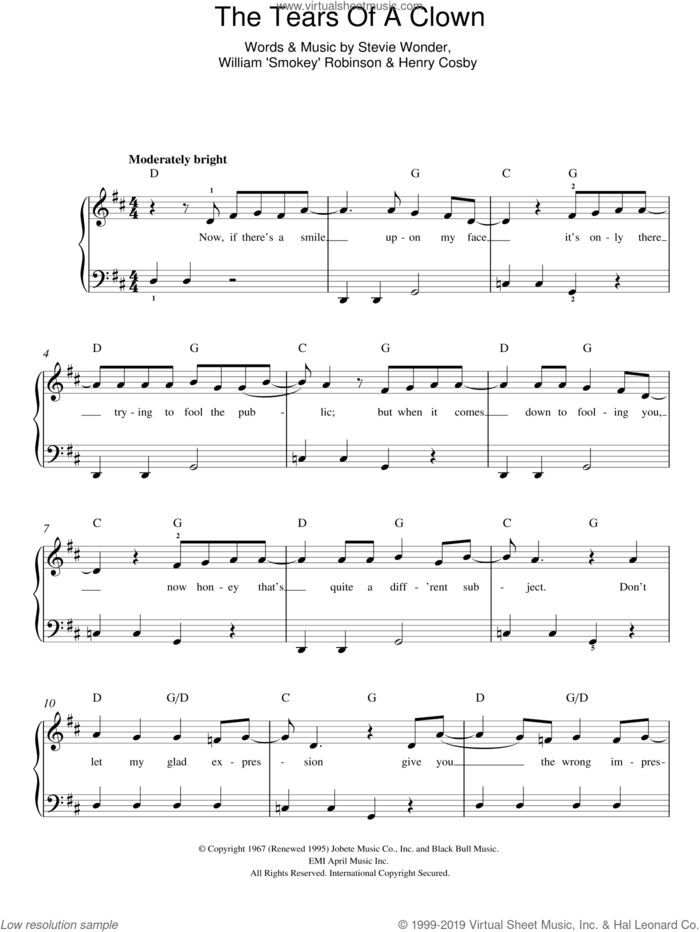 The Tears Of A Clown sheet music for piano solo by Smokey Robinson & The Miracles, Henry Cosby and Stevie Wonder, easy skill level
