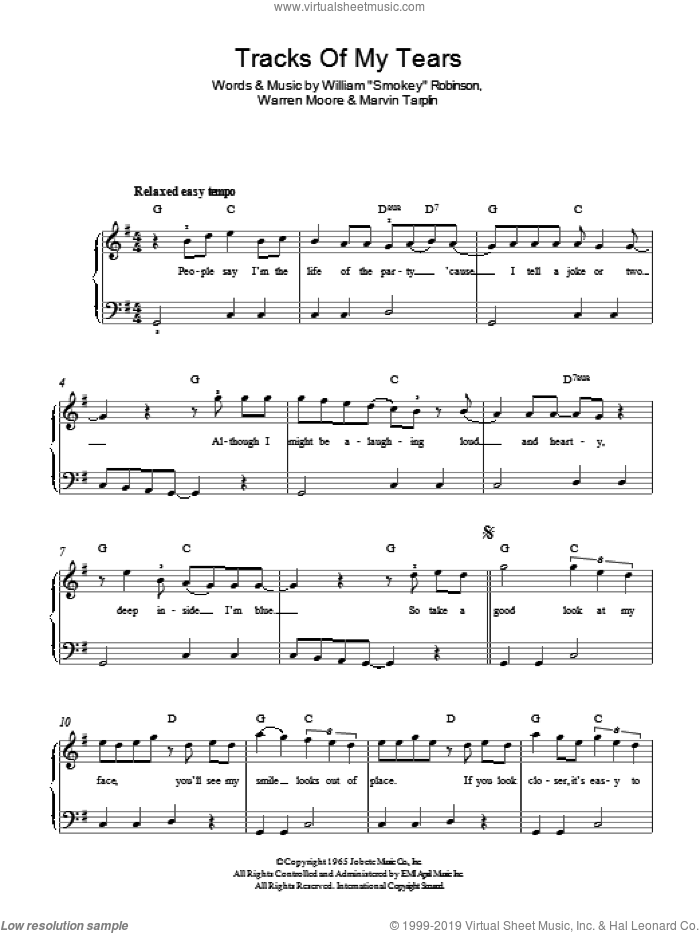 The Tracks Of My Tears sheet music for piano solo by Smokey Robinson & The Miracles, Marvin Tarplin and Warren Moore, easy skill level