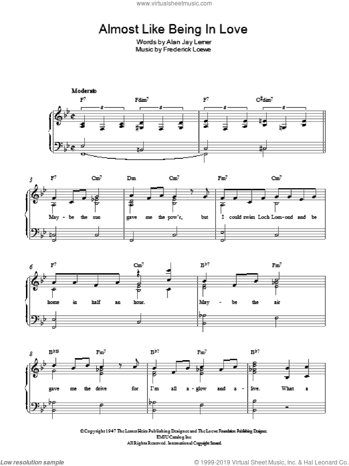 Almost Like Being In Love sheet music for piano solo by Lerner & Loewe, Frederick Loewe and Alan Jay Lerner, easy skill level