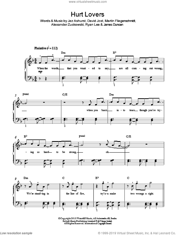 Hurt Lovers sheet music for piano solo , Alexander Zuckowski, David Jost, James Duncan, Jez Ashurst, Martin Fliegenschmidt and Ryan Lee, easy skill level