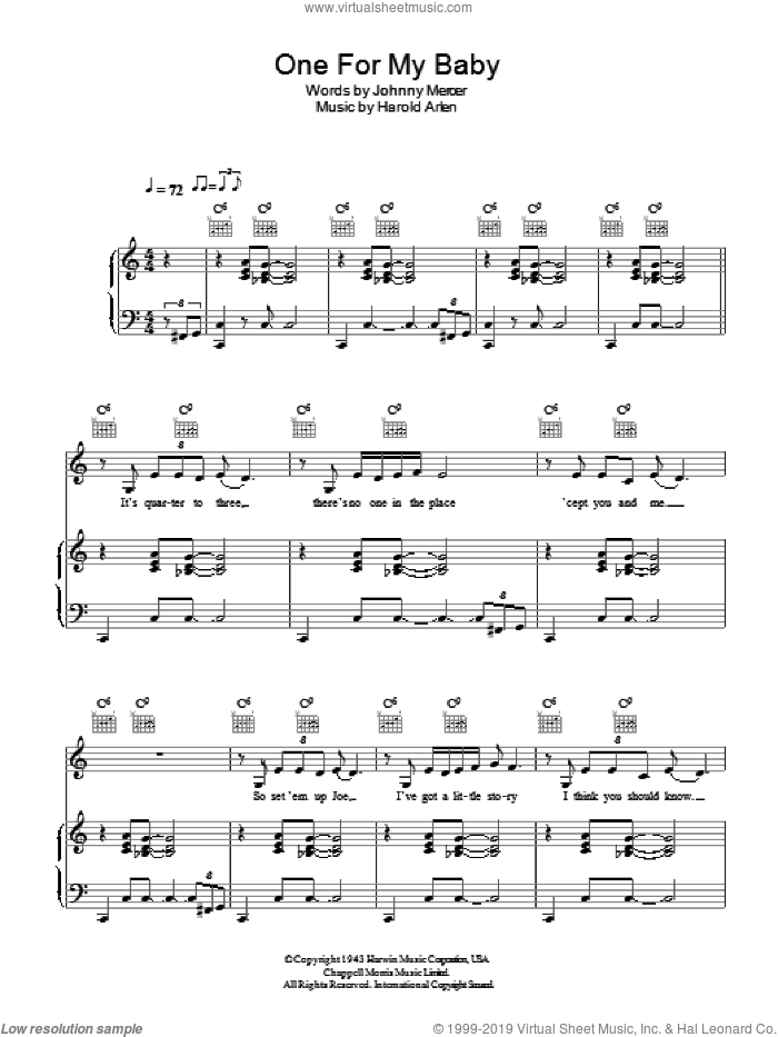 One For My Baby (And One More For The Road) sheet music for voice, piano or guitar by Hugh Laurie, Harold Arlen and Johnny Mercer, intermediate skill level