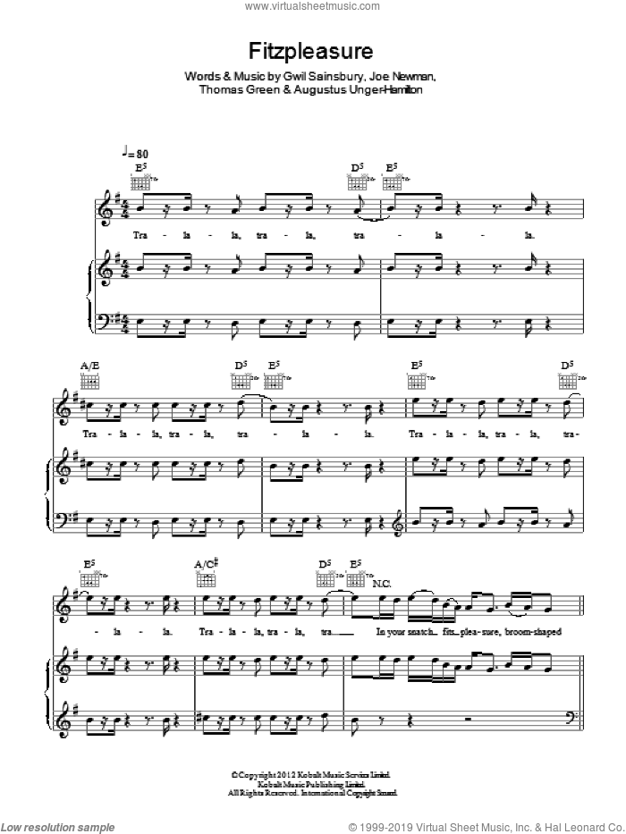 Fitzpleasure sheet music for voice, piano or guitar by Alt-J, Augustus Unger-Hamilton, Gwil Sainsbury, Joe Newman and Thomas Green, intermediate skill level