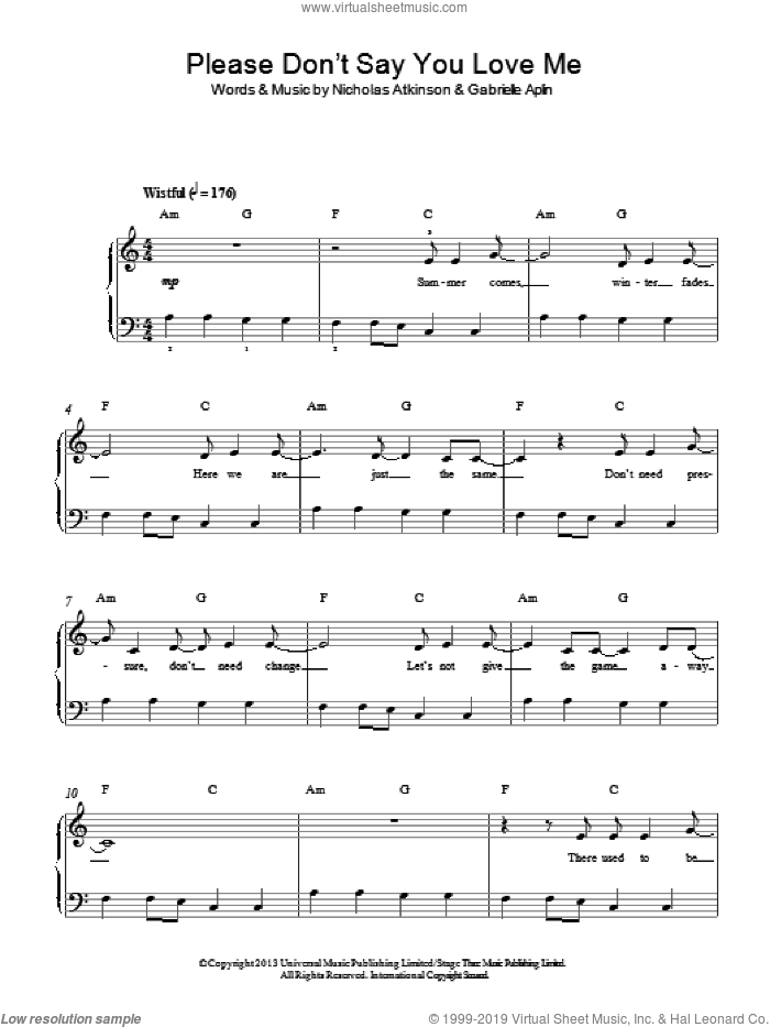 Please Don't Say You Love Me sheet music for piano solo by Gabrielle Aplin and Nicholas Atkinson, easy skill level