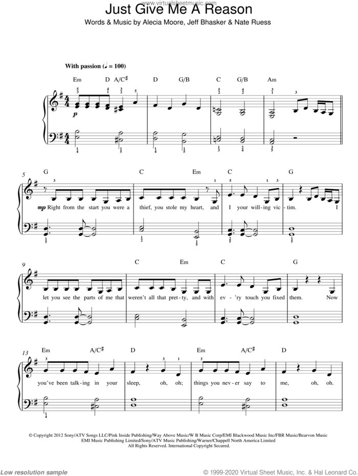 Just Give Me A Reason sheet music for piano solo by P!nk, Alecia Moore, Jeff Bhasker and Nate Ruess, easy skill level
