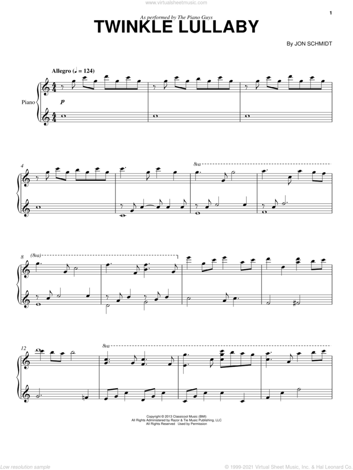 Twinkle Lullaby sheet music for cello and piano by The Piano Guys and Jon Schmidt, classical score, intermediate skill level