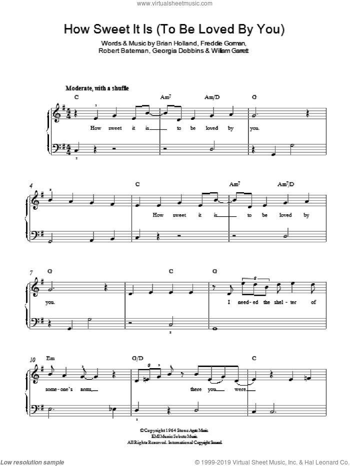 How Sweet It Is (To Be Loved By You) sheet music for piano solo by Marvin Gaye, Brian Holland, Freddie Gorman, Georgia Dobbins, Robert Bateman and William Garrett, easy skill level