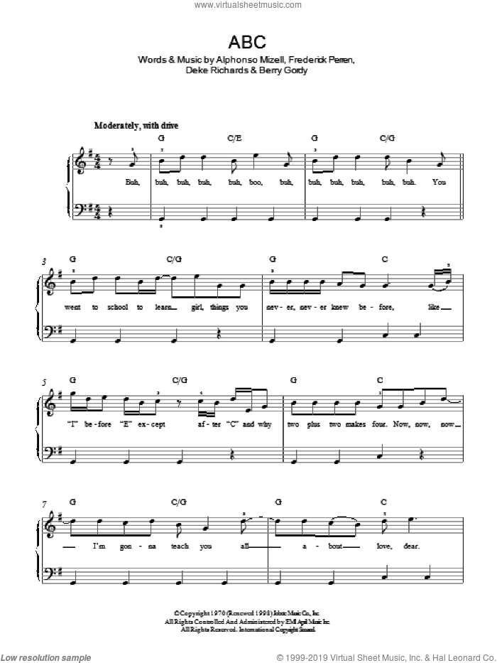 ABC sheet music for piano solo by The Jacksons, Alphonso Mizell, Berry Gordy, Deke Richards and Frederick Perren, easy skill level