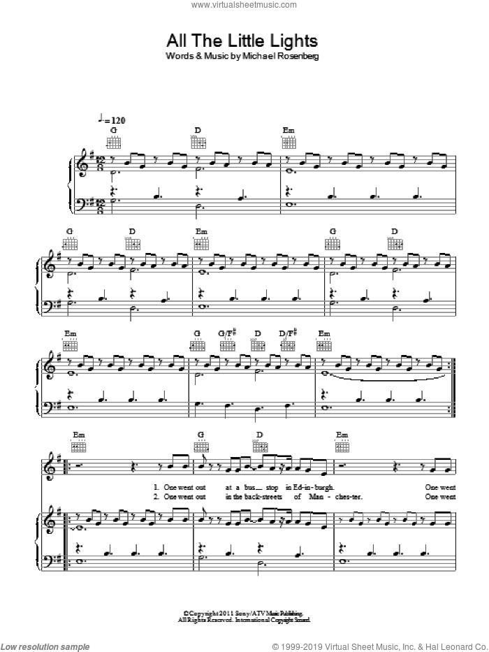 All The Little Lights sheet music for voice, piano or guitar by Passenger and Michael Rosenberg, intermediate skill level