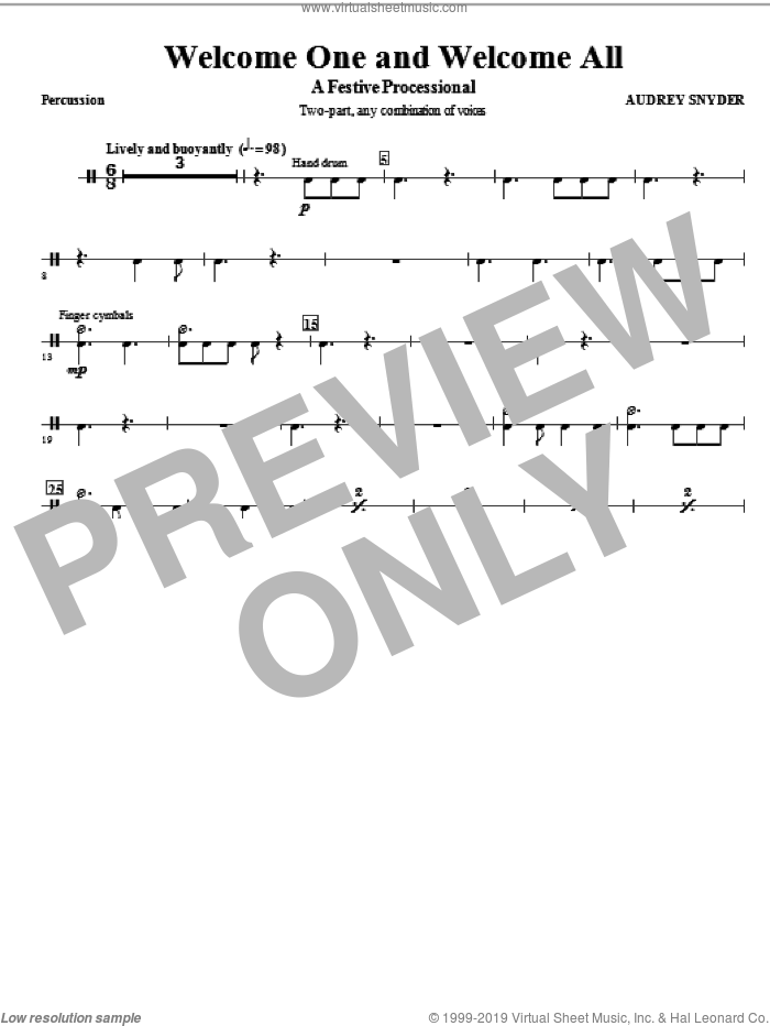 Welcome One And Welcome All, a festive processional sheet music for orchestra/band (percussion) by Audrey Snyder, intermediate skill level