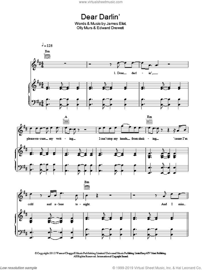 Dear Darlin' sheet music for voice, piano or guitar by Olly Murs, Edward Drewett and James Eliot, intermediate skill level