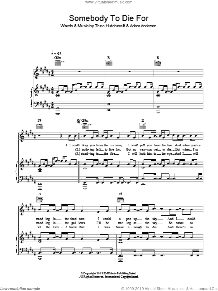 Somebody To Die For sheet music for voice, piano or guitar by Hurts, Adam Anderson and Theo Hutchcraft, intermediate skill level