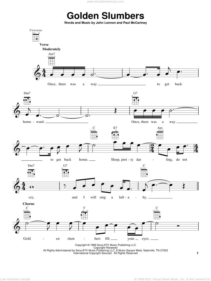 Golden Slumbers sheet music for ukulele by The Beatles, John Lennon and Paul McCartney, intermediate skill level