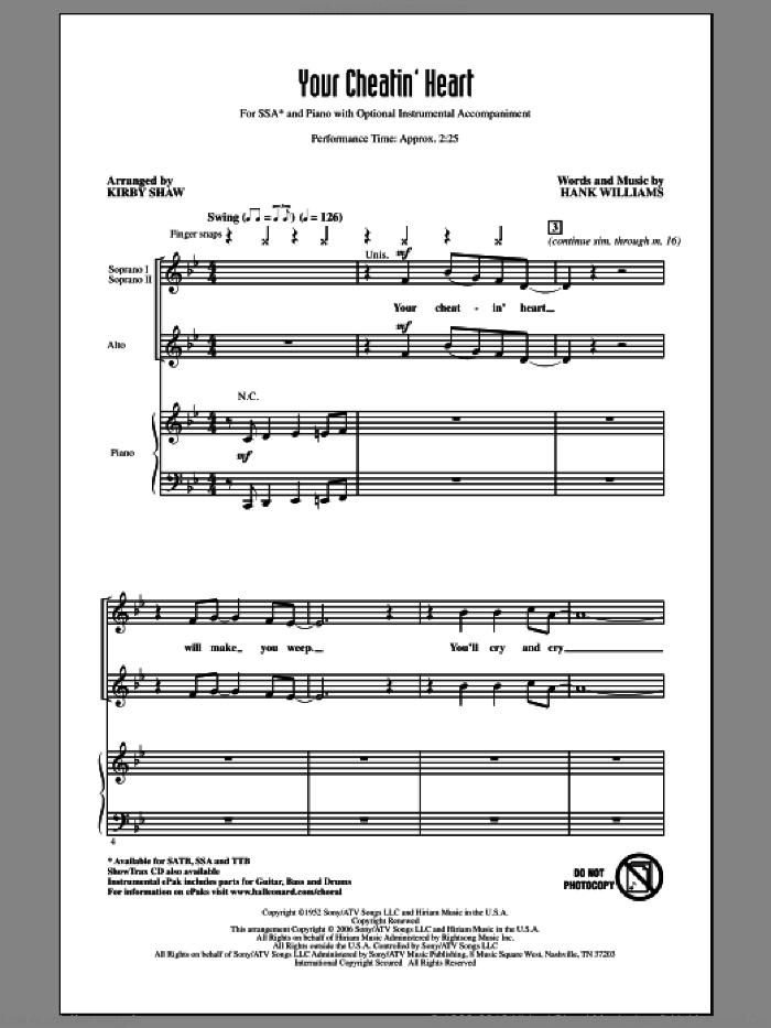 Your Cheatin' Heart sheet music for choir (SSA: soprano, alto) by Hank Williams, Kirby Shaw and Patsy Cline, intermediate skill level