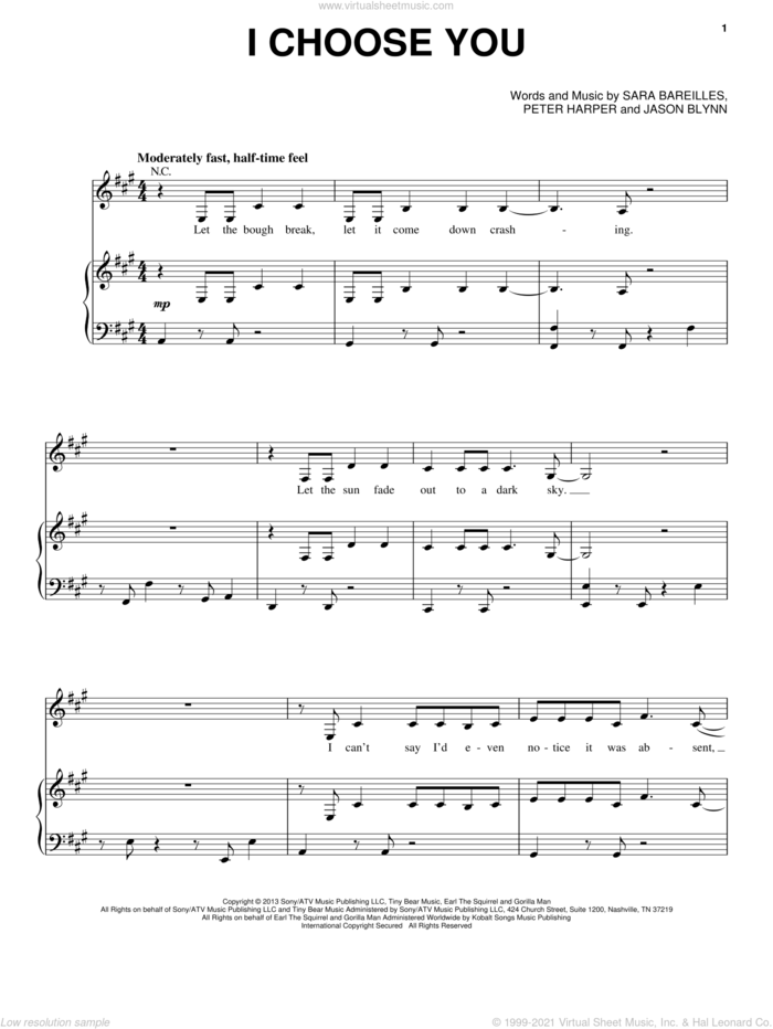 I Choose You sheet music for voice, piano or guitar by Sara Bareilles, Jason Blynn and Pete Harper, intermediate skill level