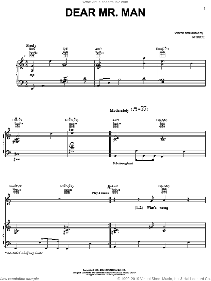 Dear Mr. Man sheet music for voice, piano or guitar by Prince, intermediate skill level