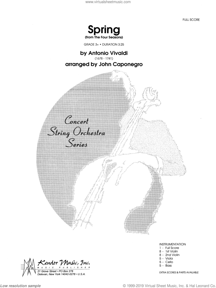 Spring (from The Four Seasons) (COMPLETE) sheet music for orchestra by Antonio Vivaldi and John Caponegro, classical score, intermediate skill level