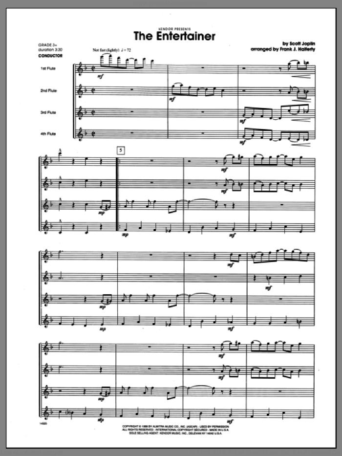 Entertainer, The (COMPLETE) sheet music for flute quartet by Frank J. Halferty and Scott Joplin, classical score, intermediate skill level