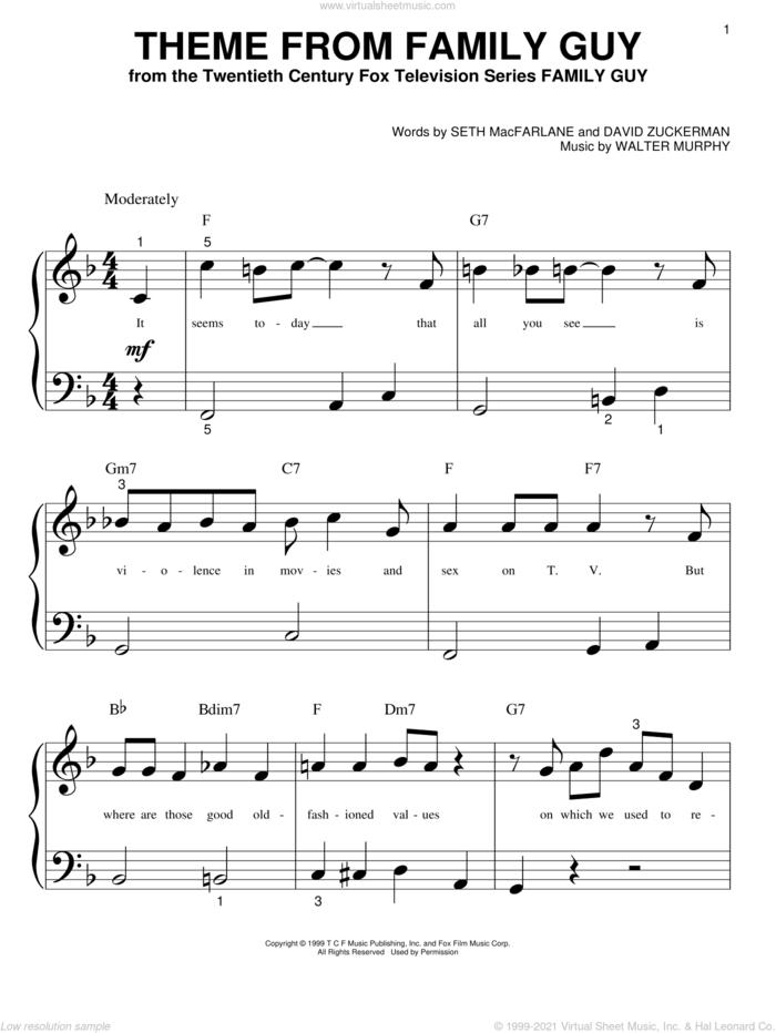 Theme From Family Guy sheet music for piano solo (big note book) by Seth MacFarlane, David Zuckerman and Walter Murphy, easy piano (big note book)