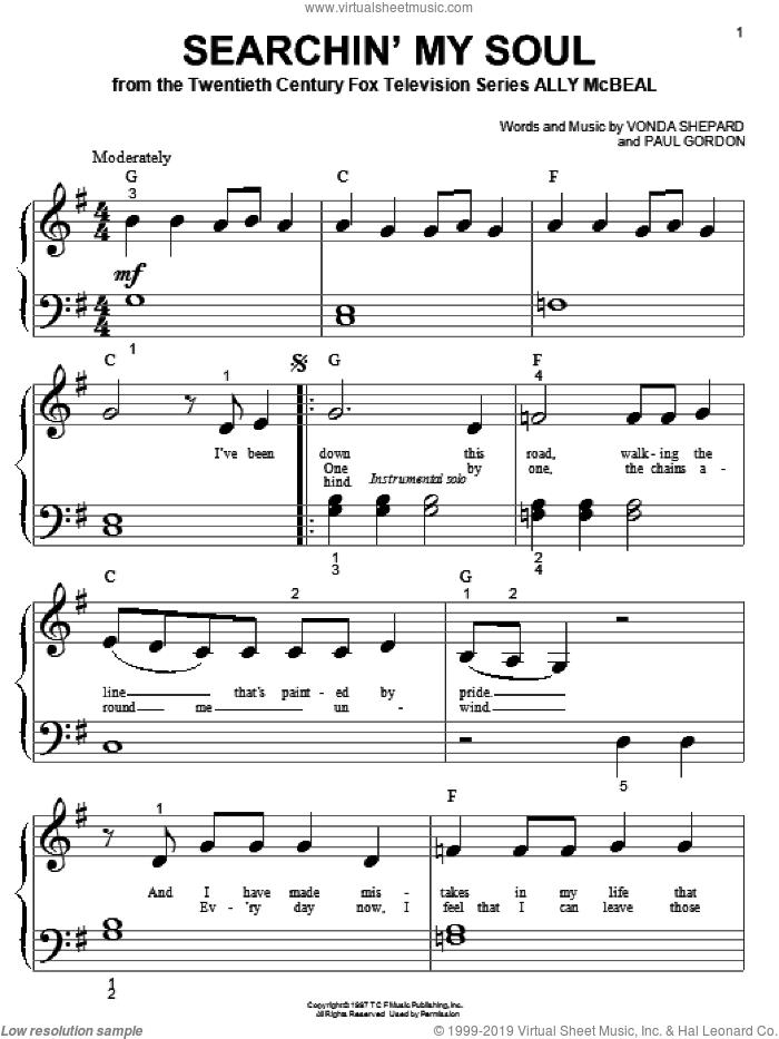 Searchin' My Soul sheet music for piano solo (big note book) by Vonda Shepard and Paul Gordon, easy piano (big note book)