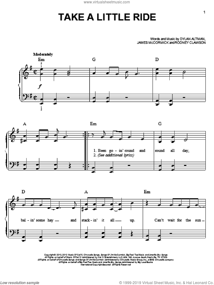 Take A Little Ride sheet music for piano solo by Jason Aldean, easy skill level
