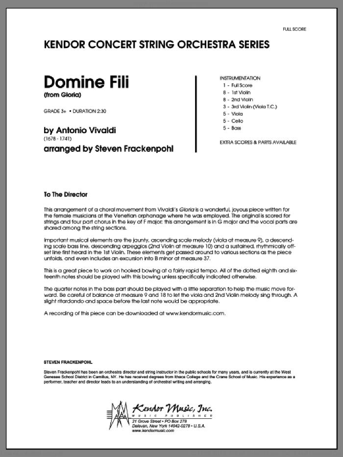 Domine Fili (from Gloria) (COMPLETE) sheet music for orchestra by Antonio Vivaldi and Steve Frackenpohl, classical score, intermediate skill level
