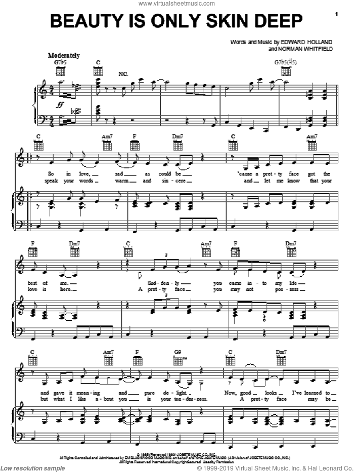 Beauty Is Only Skin Deep sheet music for voice, piano or guitar by The Temptations, Eddie Holland and Norman Whitfield, intermediate skill level