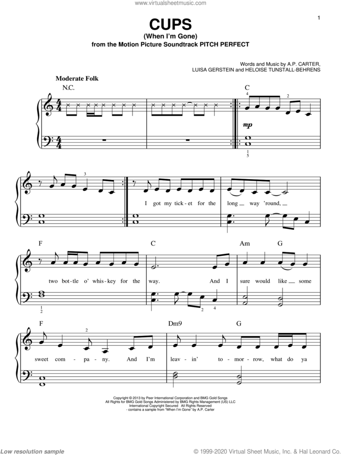Cups (When I'm Gone) sheet music for piano solo by Anna Kendrick, A.P. Carter, Heloise Tunstall-Behrens and Luisa Gerstein, beginner skill level