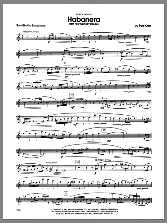 Habanera (from 'Four Comedy Dances') (complete set of parts) sheet music for alto saxophone and piano by Carr, classical score, intermediate skill level