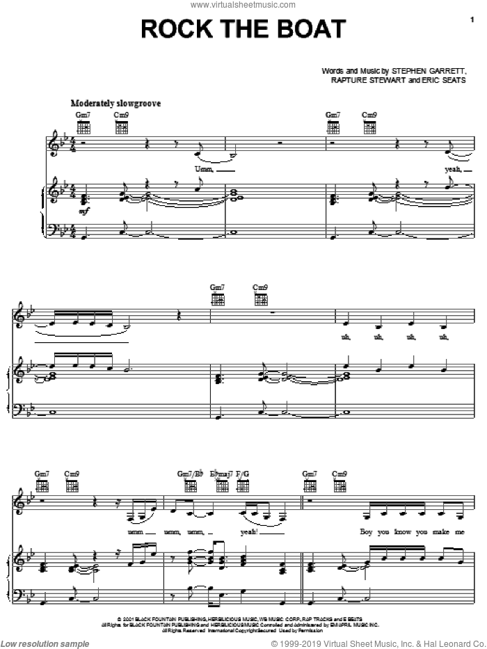 Rock The Boat sheet music for voice, piano or guitar by Aaliyah, Eric Seats, Rapture Stewart and Stephen Garrett, intermediate skill level