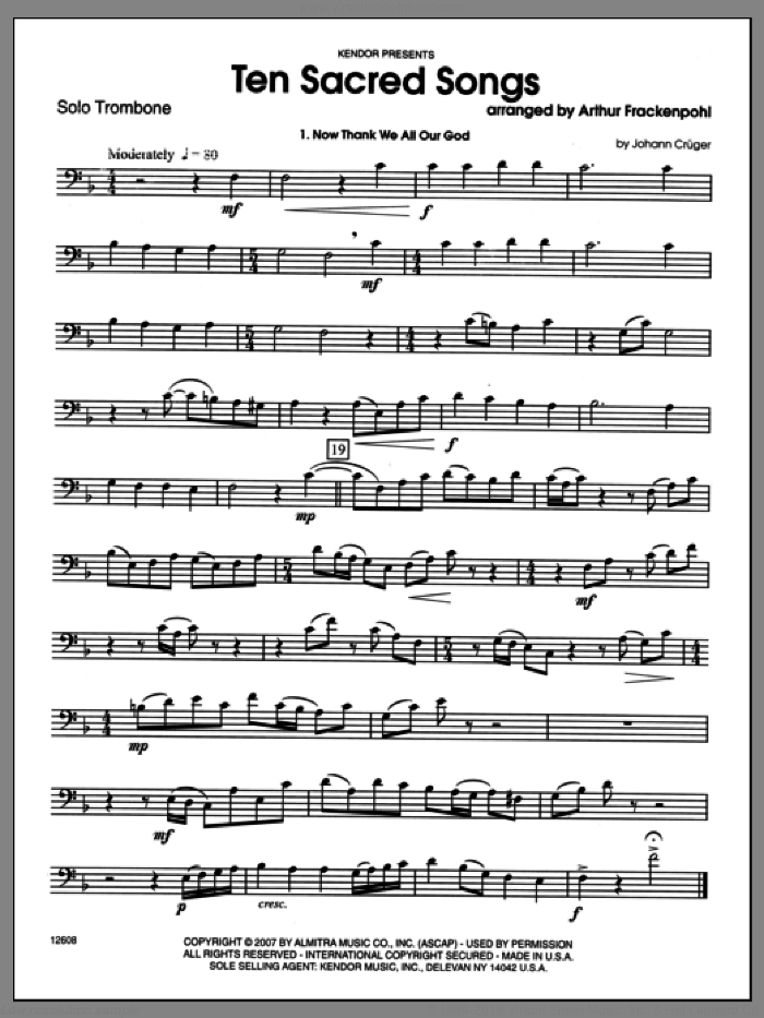 Ten Sacred Songs (complete set of parts) sheet music for trombone and piano by Arthur Frackenpohl, classical score, intermediate skill level