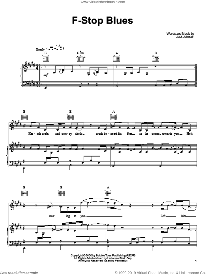 F-Stop Blues sheet music for voice, piano or guitar by Jack Johnson, intermediate skill level
