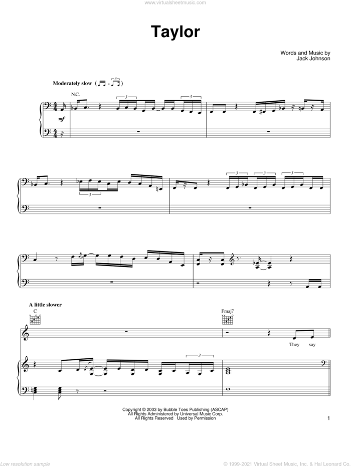 Taylor sheet music for voice, piano or guitar by Jack Johnson, intermediate skill level