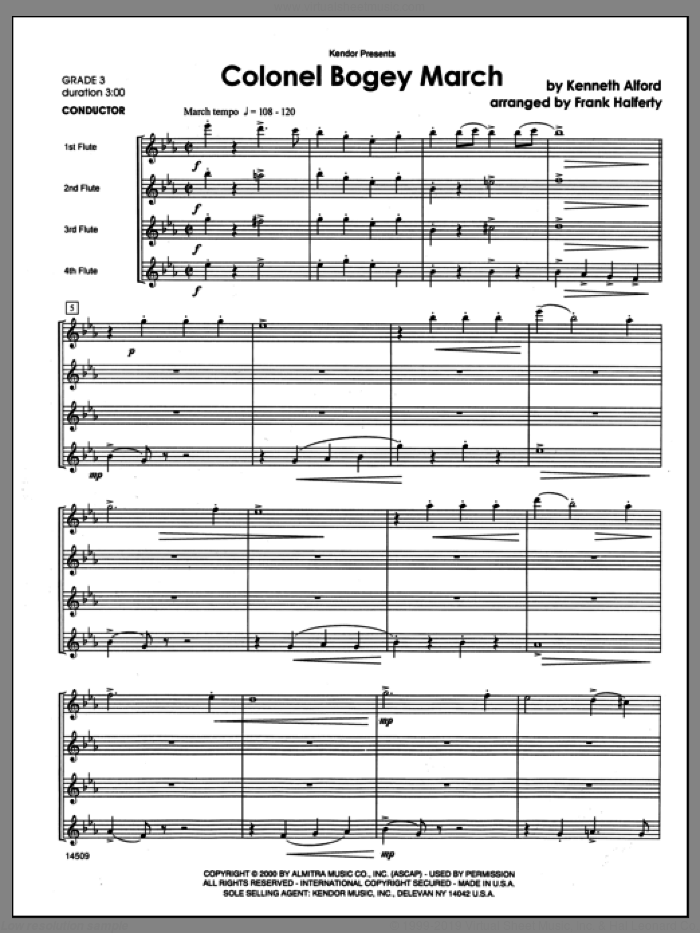 Colonel Bogey March (COMPLETE) sheet music for flute quartet by Frank J. Halferty and Alford, classical score, intermediate skill level
