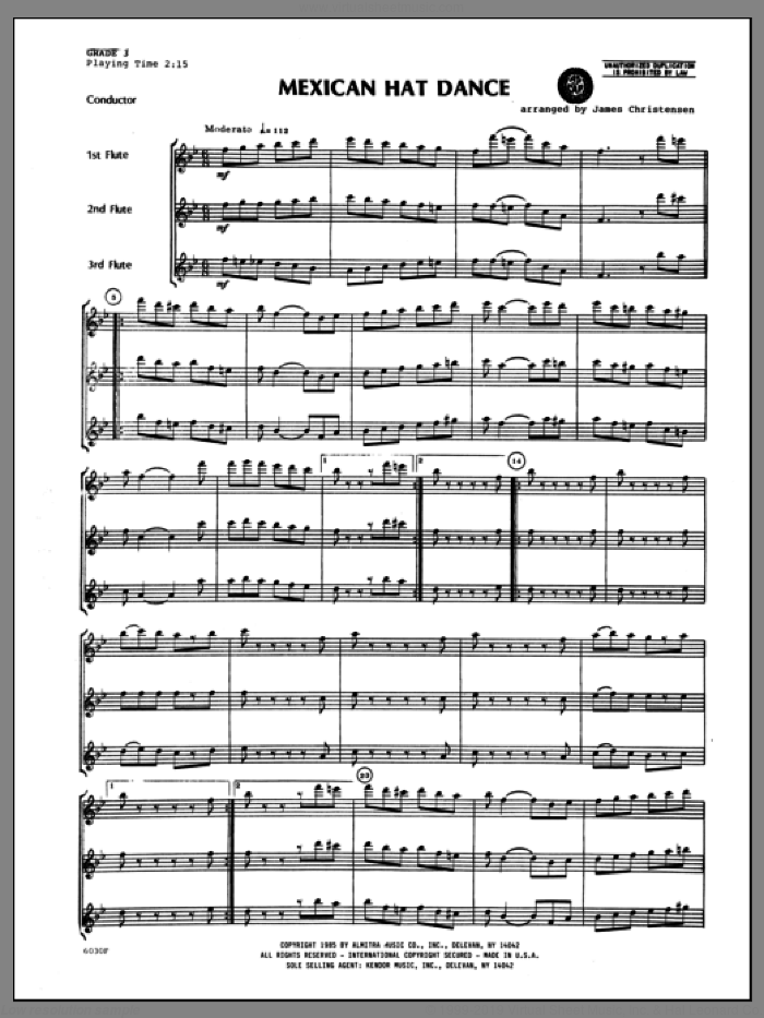 Mexican Hat Dance (COMPLETE) sheet music for flute quartet by Christensen and Miscellaneous, classical score, intermediate skill level