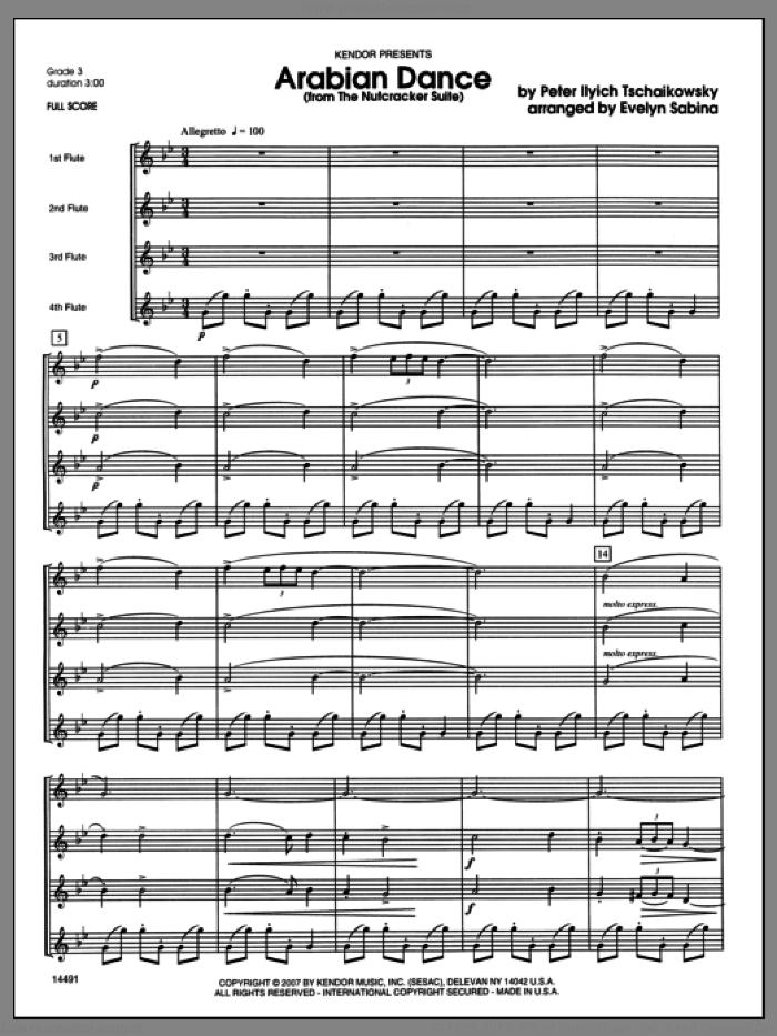 Arabian Dance (from The Nutcracker Suite) (COMPLETE) sheet music for flute quartet by Evelyn Sabina, Tschaikowsky and Pyotr Ilyich Tchaikovsky, classical score, intermediate skill level