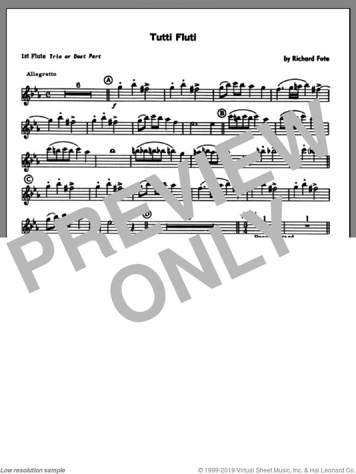 Tutti Fluti (complete set of parts) sheet music for flute quartet by Richard Fote, classical score, intermediate skill level