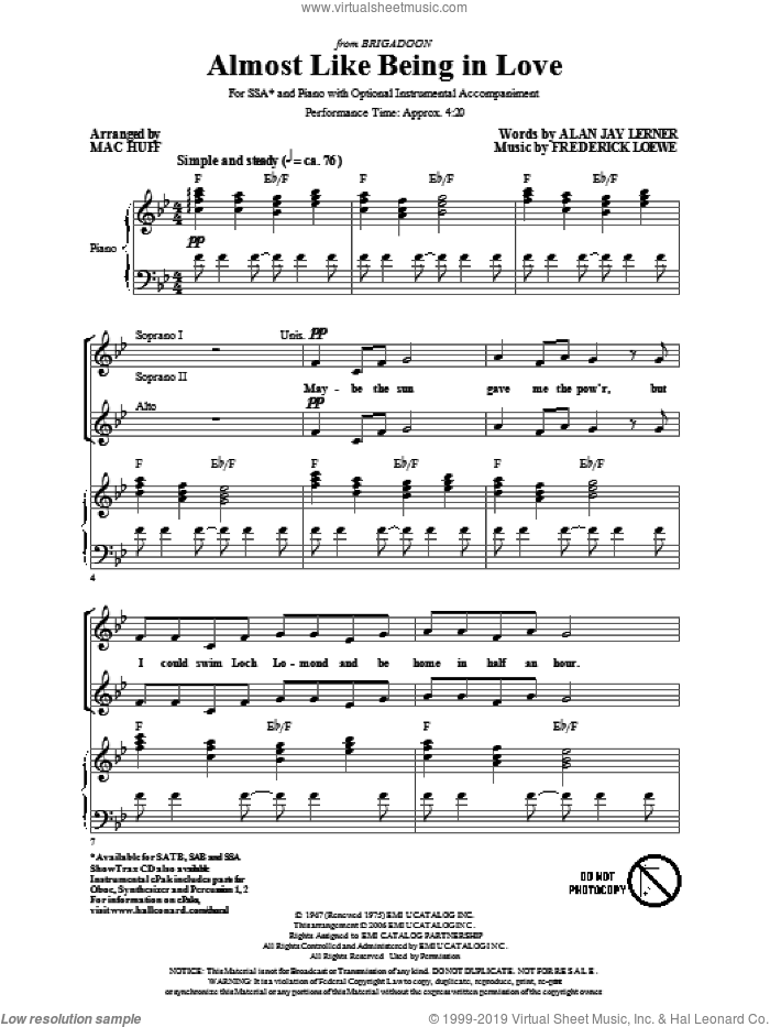 Almost Like Being In Love sheet music for choir (SSA: soprano, alto) by Alan Jay Lerner, Frederick Loewe and Mac Huff, intermediate skill level