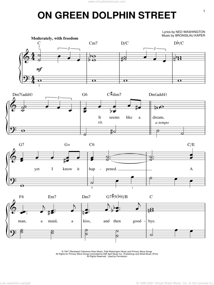 On Green Dolphin Street, (easy) sheet music for piano solo by Bronislau Kaper and Ned Washington, easy skill level