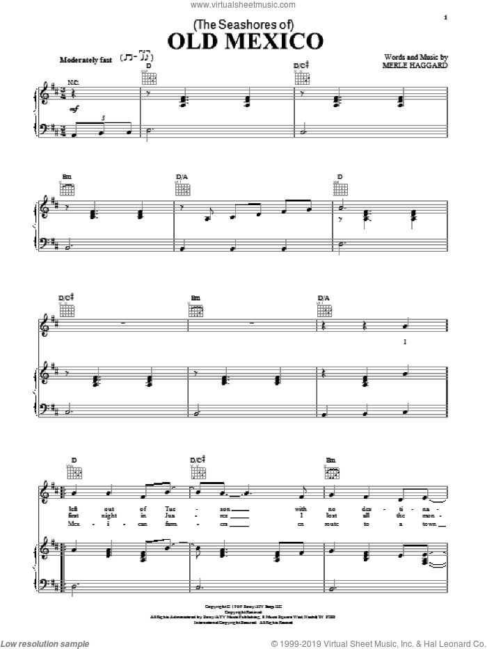 (The Seashores Of) Old Mexico sheet music for voice, piano or guitar by George Strait and Merle Haggard, intermediate skill level