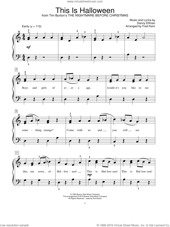 This Is Halloween (from The Nightmare Before Christmas) sheet music for piano solo (elementary) by Danny Elfman and Fred Kern, beginner piano (elementary)