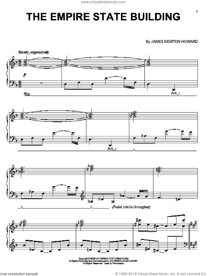 The Empire State Building sheet music for piano solo by James Newton Howard and King Kong (Movie), intermediate skill level