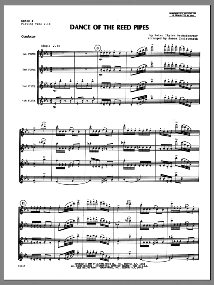 Dance Of The Reed Pipes (COMPLETE) sheet music for flute quartet by Christensen, Tschaikowsky and Pyotr Ilyich Tchaikovsky, classical score, intermediate skill level