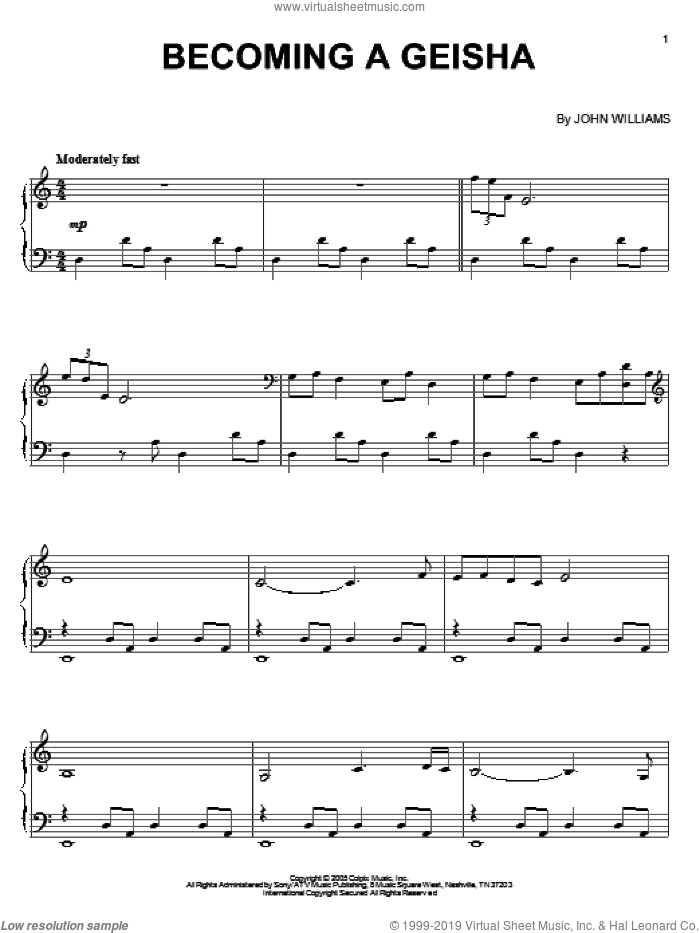 Becoming A Geisha sheet music for piano solo by John Williams and Memoirs Of A Geisha (Movie), intermediate skill level