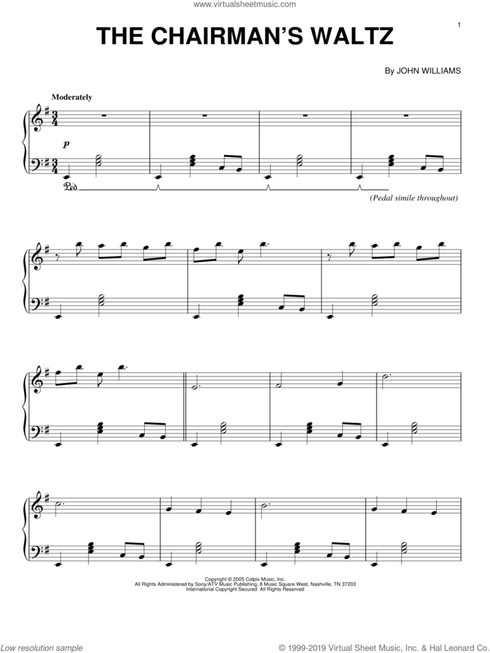 The Chairman's Waltz sheet music for piano solo by John Williams and Memoirs Of A Geisha (Movie), intermediate skill level