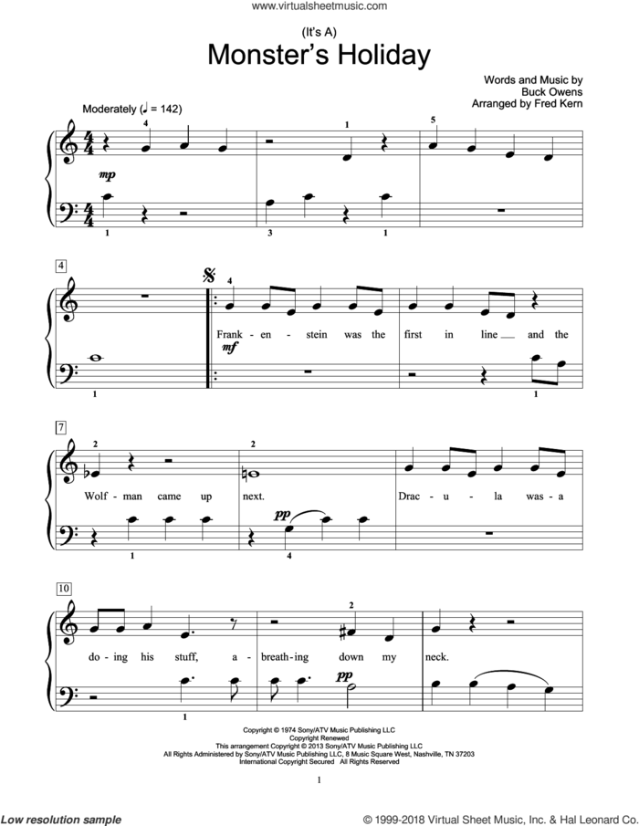 (It's A) Monster's Holiday sheet music for piano solo (elementary) by Fred Kern and Buck Owens, beginner piano (elementary)