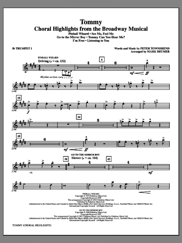 Tommy (complete set of parts) sheet music for orchestra/band by Mark Brymer and The Who, intermediate skill level
