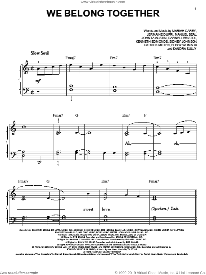 We Belong Together sheet music for piano solo by Mariah Carey, easy skill level